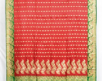 Heavy 1.1 Kg Pure Silk Zari Brocade Red Floral Vintage Indian Fabric Sari Saree  TP1808