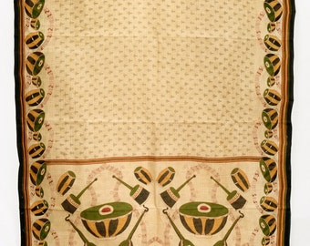 Vintage Indian Textile Printed Cream Saree Drapery Crafting Fabric Sari  TP2544
