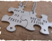Hand Stamped Relationship  You're my person  Puzzle Necklace  Matching Set  his her  his his  her her  gift for her  gift for him