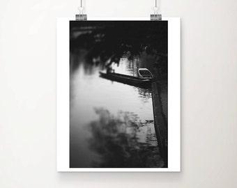 black and white photography cambridge photograph river cam photograph punting photograph boat photograph cambridge print