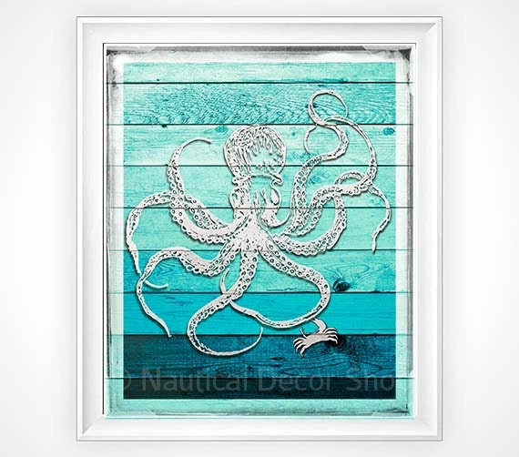 Nautical Bathroom Wall Decor : Rustic wall decor nautical octopus by nauticaldecor