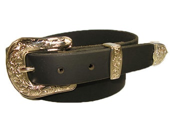 Handmade Solid Buffalo Leather Western Style Belt 1 inch Black