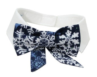 Dog/Cat blue snowflake bow on a shirt style collar