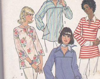 Simplicity 7446 Vintage Pattern Womens Pull On Tops in 2 Variations Size Small (8-10)