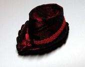 "Mini OOAK Doll Hat for Fashion Royalty 12"" dolls #6 black lace/burgundy"