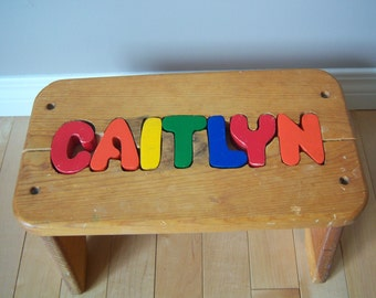 Vintage Personalized Name Kids Puzzle Stool. Kids Wooden Stool. Caitlyn Stool.