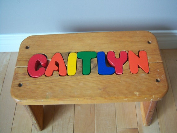 Vintage Personalized Name Kids Puzzle Stool Kids Wooden