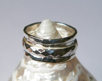 Hammered One Band Sterling Silver Spinner Ring- Stamped.925 Handcrafted-Select Your Size