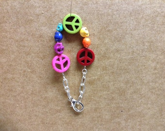 Rainbow Pride Peace Signs and Skulls with Chain #2