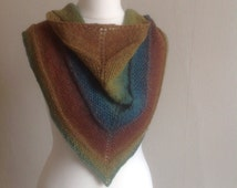 Hand Knitted Triangle Scarf, Shawl in Wool