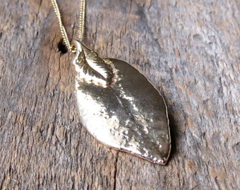Clearance Sale! Gold leaf necklace Large gold leaf necklace leaf necklace Nature lover - Gold leaf Pendant