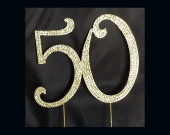 cake toppers gold 50th anniversary cake topper 50th birthday cake ...
