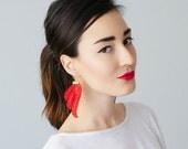 Tubero Red Earrings Statement Earrings Lace Earrings Boho Earrings Long Earrings Leaf Earrings Fashion Earrings Bridal Earrings
