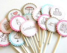 12 Pastel London Cupcake Toppers. First Birthday. Baby Shower. London Theme. England Party.