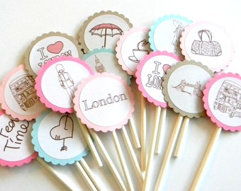 12 London Cupcake Toppers, London Theme, First Birthday, French Party, France, London Flag, London Birthday, I love London, Birthday Toppers