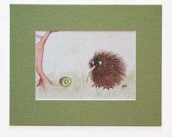 Kiwi Bird & Kiwi Fruit Art Print, Cute Kiwi Art, Kiwi Bird Illustration, Matted 5 x 7 Print