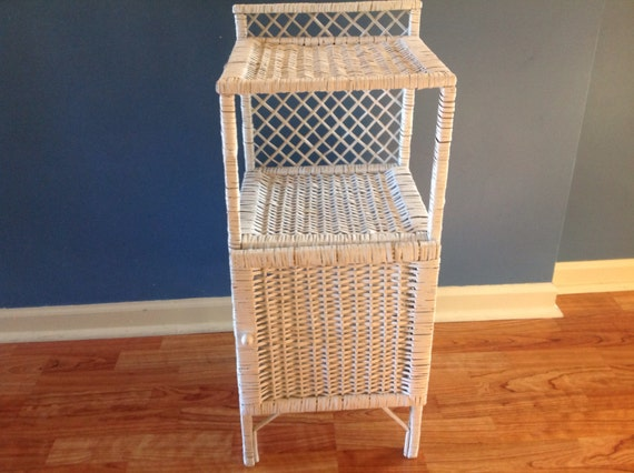 Vintage Wicker End Table Nightstand White Wicker Side Table