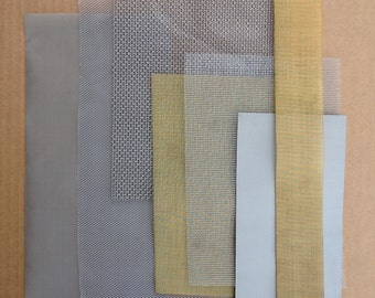 Metal Mesh Selection Pack, Woven Metal Cloth, Aluminium, Brass, Copper, Stainless Steel, Steampunk, Mixed Media, Metalwork, UK Seller