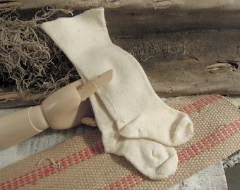Vintage / Antique Cotton Baby Stockings / Doll Socks / Victorian Edwardian Stockings