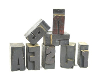 Vintage Wood Type Letterpress Printing Blocks Industrial Wooden Letters Alphabet Stamps Set