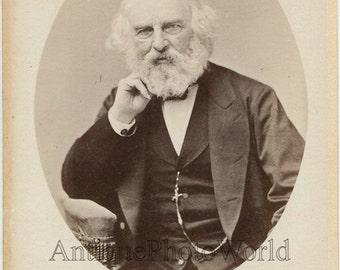 Henry Wadsworth Longfellow US poet antique cabinet photo