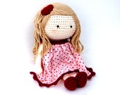 "Crochet Doll, maroon dress  13"", 33cm"