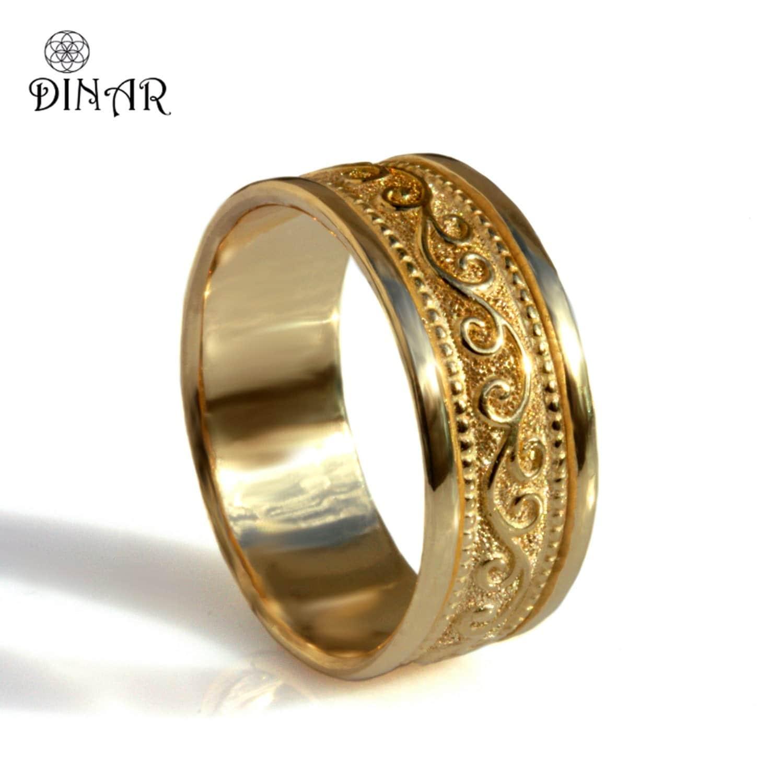 scrolls 18k solid gold wide wedding band unisex gold band art