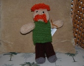 "Mustachioed Zombie Hunter, Hand Knitted, between 10""-12"" tall"