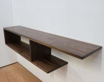 Asymmetrical Wood Floating Entry Table / Console, Shelf