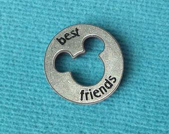 """Disney Pewter """"Best Friends"""" Token Coin - """"Pieces of Magic"""" with Mickey Head Cutout"""