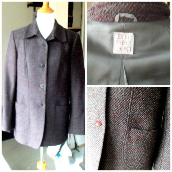 Wool Blazer, Ann Freedberg Wool Blazer Jacket, Aubergine Tweed, Excellent Condition, Size 10