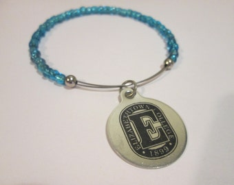 Your School or Logo Custom stackable wire beaded bangle bracelet- choose your color