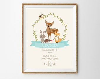 Woodland Birth Announcement Print for a Baby Girl or Boy's Nursery - Instant Download Wall Art - Print at Home