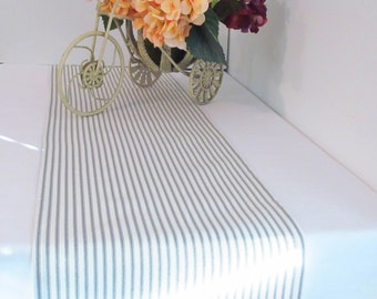 Custom Table Runner  Vertical Ticking Stripe Simply Shabby Chic Table Runner/ Gray/ Taupe/ Brown/ Blue/ Red/ Charcoal/ Black