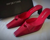 Vintage Designer Sergio Rossi Mules in Red Leather with Black Heels Bow on Top in Original Box Very Sexy Excellent Condition 9.5 Medium