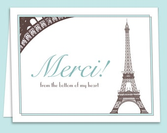 Aqua, French Paris Theme Thank You Card Downloadable/Printable for Bridal Showers, Weddings or Birthdays