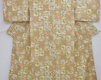 KOMON - Plum Blossom Chrysanthemum Check - V55e Vintage silk kimono