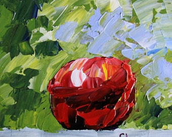 "Red apple painting Small original still life 6x6"" acrylic on panel white red purple green gray impressionist fruit fine art by Cristina Jaco"