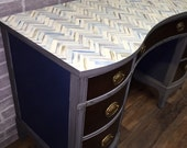 SALE Hand painted herringbone desk 20%off ON HOLD