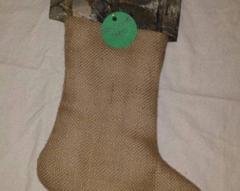 SALE! Mossy Oak or Real Tree Camo Camoflauge & Burlap Christmas Stocking-- 25% 0FF was 16.00, now 12