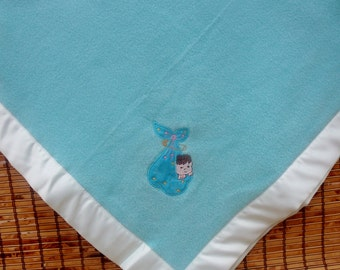Baby Blanket, Fleece Embroidery, Neutral Baby Gift, Shower Present, Teal Blue Blanket