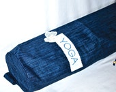 Yoga bag - dark blue linen with butterfly