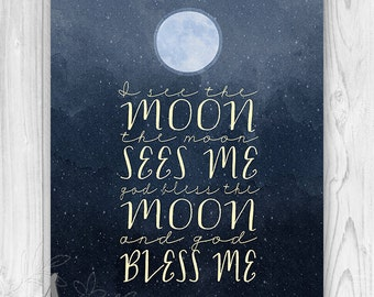 I See the Moon Print - Bless Me - God Bless Me - Night - Moon - Stars - WATERCOLOR home decor - Wall ART PRINT