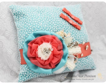 READY TO SHIP Beach Wedding Lace Ring Pillow  Custom Bridal Pillow with  Shells Brooches Crystals Flowers in Aqua Seafoam Blue Coral