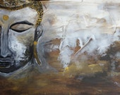 Buddha Acrylic Painting - Buddism - Religious Abstract - Abstract Painting - UK Art - Home Decor - Wall Hanging - Wall Art - Gold Brown