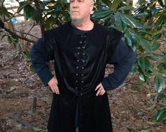 Renaissance Long Faux Suede Doublet/Vest Pirate Vest with Lace up Front Custom Made to Fit Men or Women