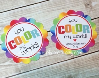 "Cupcake Topper/ Tag ""You Color My World!""  Painting Printable/ Paint a Cookie"