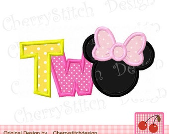 Minnie TWO,Birthday TWO,Minnie Machine Embroidery applique-4x4 5x5 6x6 and 5x7 6x10 inch