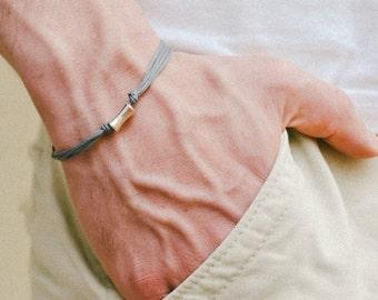 Gray bracelet for men, men's bracelet with silver tone tube charm, gray cord, bar bracelet, valentine gift for boyfriend, anniversary gift