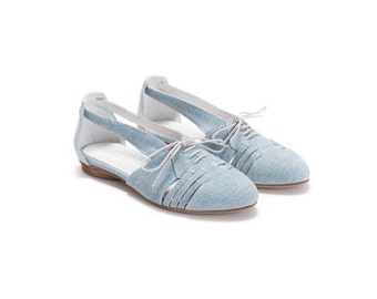 SALE 30% Off // Summer Shoes, Flats, Leather Shoes, Denim Print Leather Shoes, Handmade Shoes,  Women Shoes
